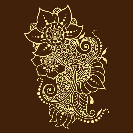 Mehndi flower pattern for Henna drawing and tattoo. Decoration in ethnic oriental, Indian style. 矢量图像