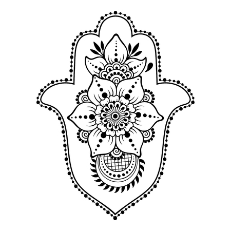 Hamsa hand drawn symbol from flower. Decorative pattern in oriental style for interior decoration and henna drawings. The ancient sign of