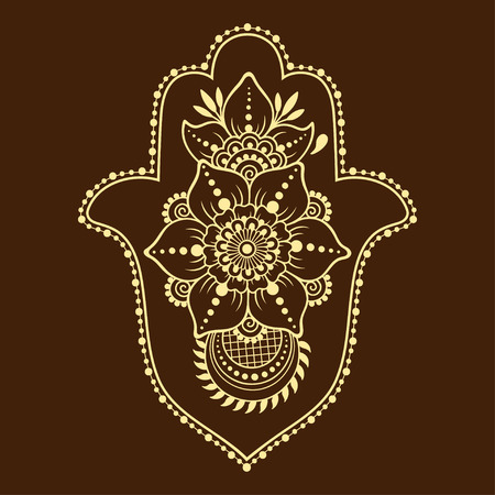 Hamsa hand drawn symbol from flower. Decorative pattern in oriental style for interior decoration and henna drawings. The ancient sign of Hand of Fatima. Illustration