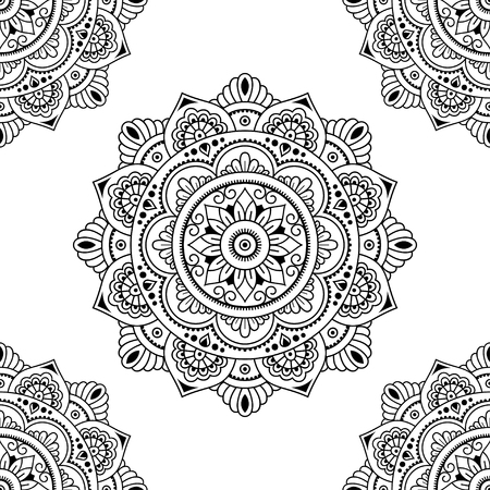 Circular pattern in form of mandala for Henna, Mehndi, tattoo, decoration. Seamless decorative ornament in ethnic oriental style. Coloring book page.