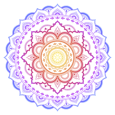 Color Circular pattern in form of mandala. Decorative ornament in ethnic oriental style. Ilustração