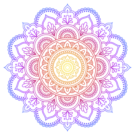 Color Circular pattern in form of mandala. Decorative ornament in ethnic oriental style. Illustration