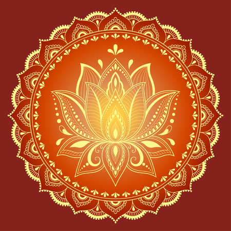 Color Circular pattern in form of mandala with Lotus. Decorative ornament in ethnic oriental style.