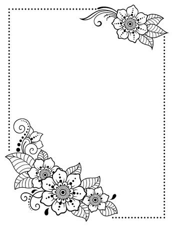 Stylisé avec un motif décoratif de tatouages au henné pour la décoration de couvertures pour livre, cahier, cercueil, magazine, carte postale et dossier. Fleur rose dans le style mehndi. Cadre dans la tradition orientale.