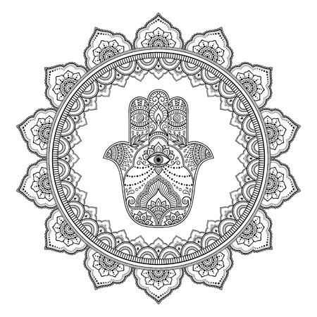 Motif circulaire en forme de mandala pour Henné, Mehndi, tatouage, décoration. Ornement décoratif dans un style oriental avec symbole dessiné à la main Hamsa. Page de livre de coloriage.