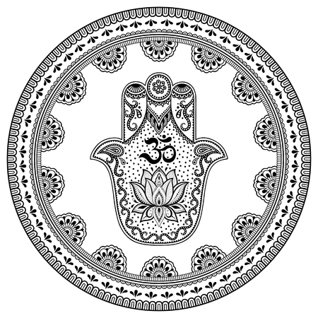 Circular pattern in form of mandala for Henna, Mehndi, tattoo, decoration. Decorative ornament in oriental style with Hamsa hand drawn symbol with mantra OM. Coloring book page. Vektorové ilustrace