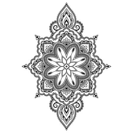 Modello circolare in forma di mandala per henné, Mehndi, tatuaggio, decorazione. Ornamento cornice decorativa in stile etnico orientale. Pagina del libro da colorare.