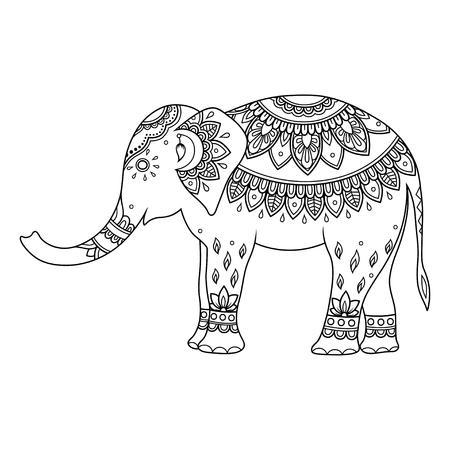 Elefante decorado con motivos vintage florales étnicos indios. Dibujado a mano animal decorativo en estilo doodle. Adorno mehndi estilizado para tatuaje, impresión, portada, libro y página para colorear. Ilustración de vector