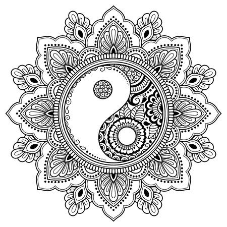 Circular pattern in form of mandala for Henna, Mehndi, tattoo, decoration. Decorative ornament in oriental style with Yin-yang hand drawn symbol. Coloring book page. Vektoros illusztráció