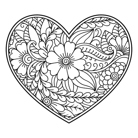 Mehndi flower pattern in form of heart with lotus for Henna drawing and tattoo. Decoration in ethnic oriental, Indian style. Coloring book page. Vector Illustration