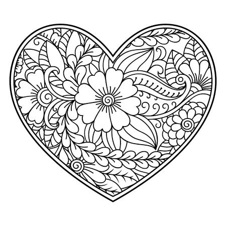 Motivo floreale Mehndi a forma di cuore con loto per disegno e tatuaggio all'henné. Decorazione in stile etnico orientale, indiano. Pagina del libro da colorare. Vettoriali