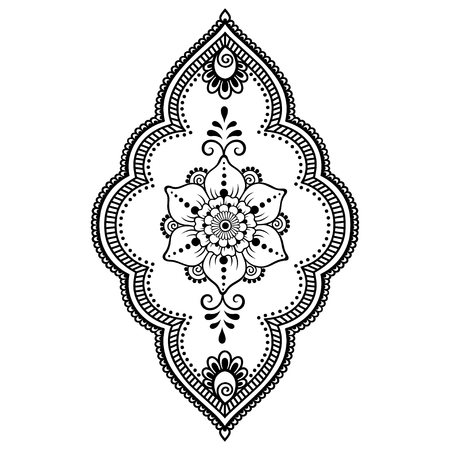 Mehndi lflower pattern for Henna drawing and tattoo. Decoration in ethnic oriental, Indian style.