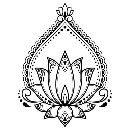 Motivo floreale di loto Mehndi per disegno e tatuaggio all'henné. Mandala di decorazione in stile etnico orientale, indiano.