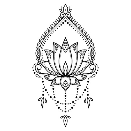Mehndi Lotus flower pattern for Henna drawing and tattoo. Decoration mandala in ethnic oriental, Indian style. Illustration