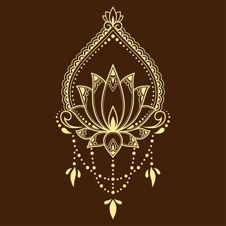 Motif de fleur de lotus Mehndi pour le dessin et le tatouage au henné. Décoration mandala de style ethnique oriental, indien. Vecteurs