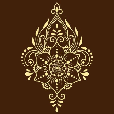 Motif de fleurs Mehndi pour le dessin et le tatouage au henné. Décoration de style ethnique oriental, indien. Vecteurs