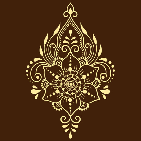 Mehndi flower pattern for Henna drawing and tattoo. Decoration in ethnic oriental, Indian style. Illustration