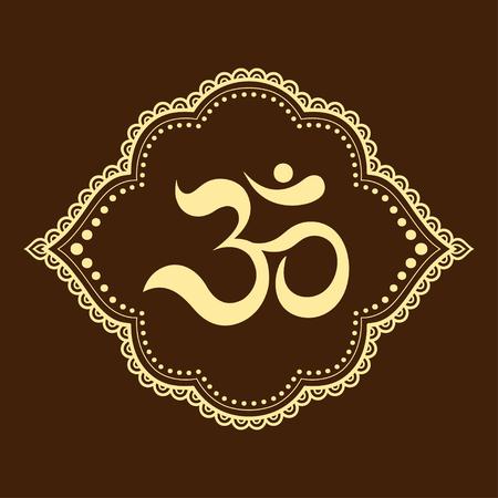 Motif de fleurs Mehndi avec symbole mantra OM pour le dessin et le tatouage au henné. Décoration mandala dans un style ethnique oriental, indien.