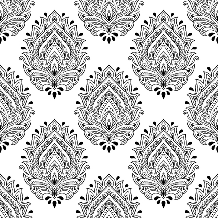 Seamless decorative flower pattern in ethnic oriental indian style. Template for wallpaper, upholstery and wrapping paper.
