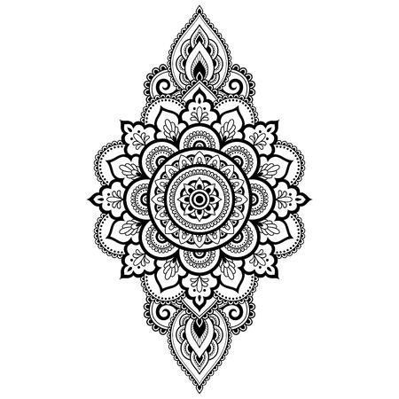 Motif circulaire en forme de mandala avec fleur pour henné, Mehndi, tatouage, décoration. Ornement décoratif dans un style oriental ethnique. Page de livre de coloriage. Vecteurs