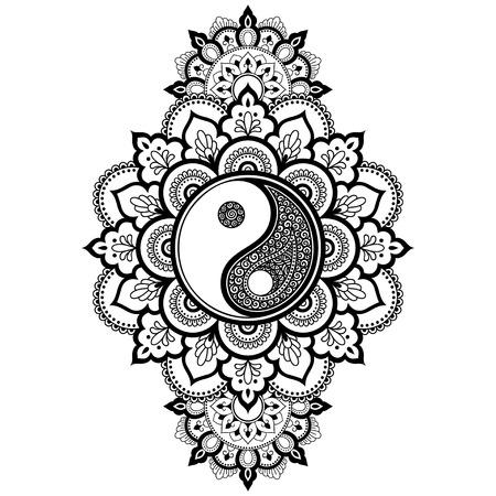 Motif circulaire en forme de mandala pour Henné, Mehndi, tatouage, décoration. Ornement décoratif dans un style oriental avec symbole dessiné à la main Yin-yang. Page de livre de coloriage.