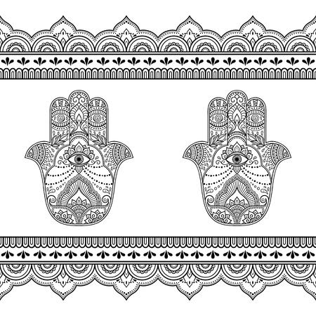 Ensemble de Mehndi ancien symbole dessiné à la main motif Hamsa et bordure transparente pour le dessin et le tatouage au henné Décoration de style oriental et indien.
