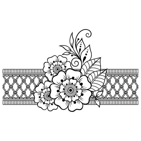 Motif de fleurs Mehndi et bordure pour le dessin et le tatouage au henné. Décoration de style ethnique oriental, indien.