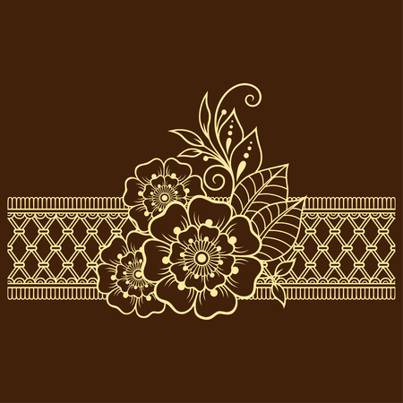 Mehndi flower pattern and border for Henna drawing and tattoo. Decoration in ethnic oriental, Indian style.