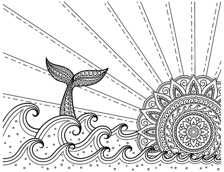 Whale diving into sea against the sunset. Coloring book page antistress - ocean landscape with waves, mandala in form of sun, fish tail.