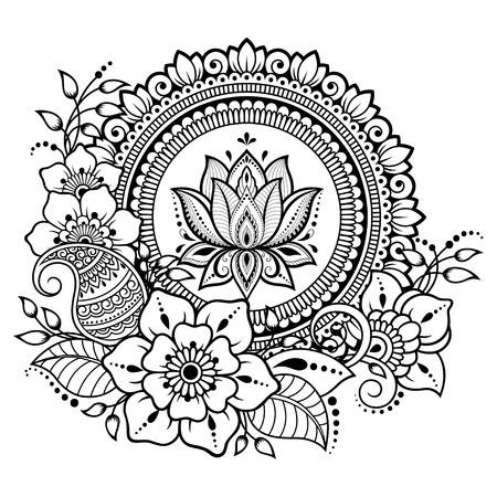 Modello circolare a forma di mandala con fiore di loto per henné, Mehndi, tatuaggio, decorazione. Ornamento decorativo in stile etnico orientale. Pagina del libro da colorare.