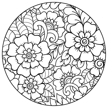 Outline round floral pattern for coloring the book page. Antistress coloring for adults and children. Doodle pattern in black and white. Hand draw vector illustration. Ilustração