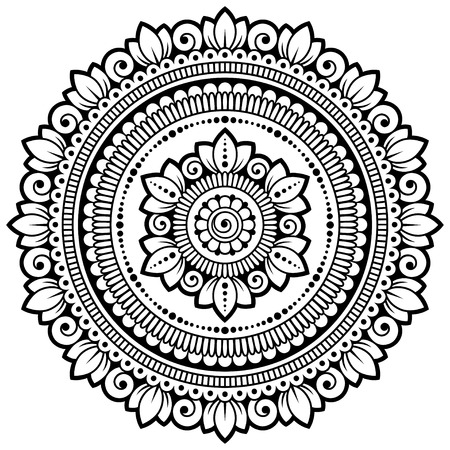 Circular pattern in form of mandala with flower for Henna, Mehndi, tattoo, decoration. Decorative ornament in ethnic oriental style. Coloring book page.