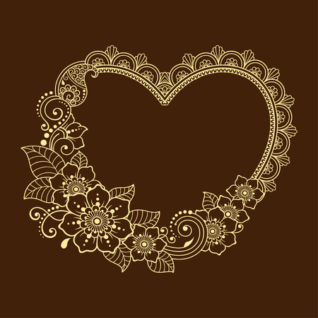 Pattern in form of heart for Henna, Mehndi, tattoo, decoration - frame. Decorative ornament in ethnic oriental style, Indian style.. Coloring book page. Ilustração