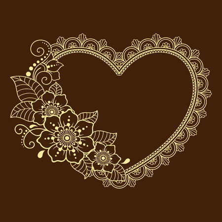 Pattern in form of heart for Henna, Mehndi, tattoo, decoration - frame. Decorative ornament in ethnic oriental style, Indian style.. Coloring book page.  イラスト・ベクター素材