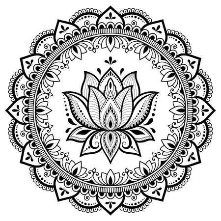 Circular pattern in form of mandala with lotus flower for Henna, Mehndi, tattoo, decoration. Decorative ornament in ethnic oriental style. Coloring book page. Vecteurs