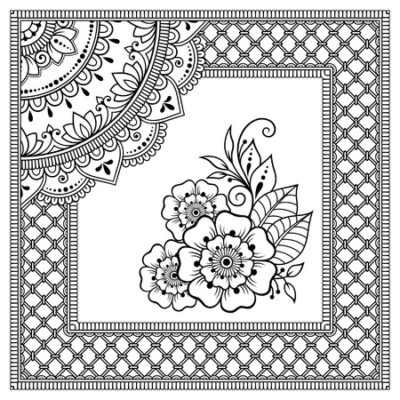 Stylized with henna tattoos decorative pattern for decorating covers book, notebook, casket, postcard and folder. Mandala, flower and border in mehndi style. Frame in the eastern tradition.