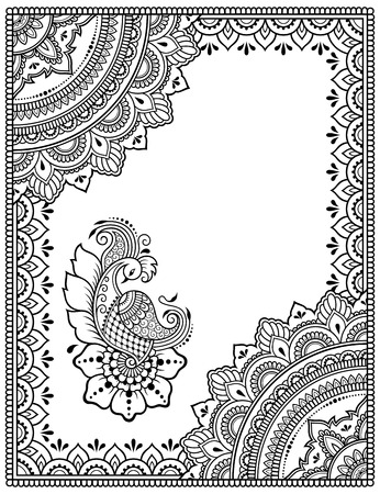 Stylized with henna tattoos decorative pattern for decorating covers book, notebook, casket, postcard and folder. Mandala, flower, peacock and border in mehndi style. Frame in the eastern tradition. Ilustração