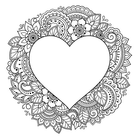 Pattern in form of heart for Henna, Mehndi, tattoo, decoration - frame. Decorative ornament in ethnic oriental style, Indian style. Coloring book page.