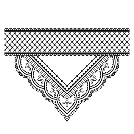 Mehndi ornamental pattern and border for Henna drawing and tattoo. Decoration in ethnic oriental, Indian style. Ilustração