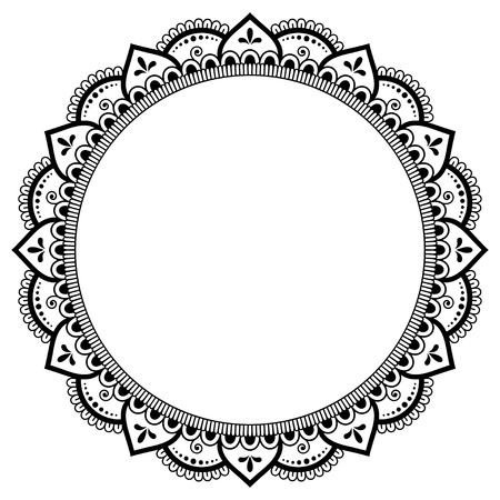 Circular pattern in form of mandala for Henna, Mehndi, tattoo, decoration. Decorative ornament in ethnic oriental style. Coloring book page. Ilustração