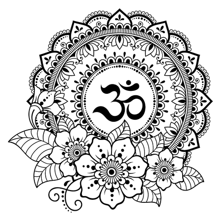 Circular pattern in form of mandala for Henna, Mehndi, tattoo, decoration. Decorative ornament in oriental style with ancient Hindu mantra OM. Coloring book page.