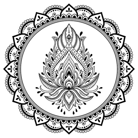 Circular pattern in form of mandala with lotus flower for Henna, Mehndi, tattoo, decoration. Decorative ornament in ethnic oriental style. Coloring book page.