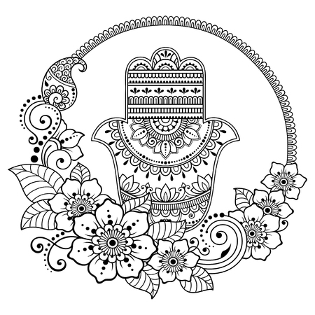 Circular pattern in form of mandala for Henna, Mehndi, tattoo, decoration. Decorative ornament in oriental style with flower and Hamsa hand drawn symbol. Coloring book page. Vektorové ilustrace