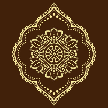 Mehndi flower pattern in frame for Henna drawing and tattoo. Decoration in ethnic oriental, Indian style. Ilustração