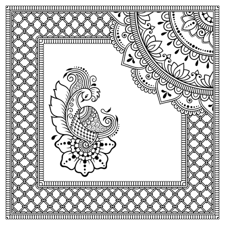 Stylized with henna tattoos decorative pattern for decorating covers book, notebook, casket, postcard and folder. Mandala, flower, peacock and border in mehndi style. Frame in the eastern tradition. Illusztráció
