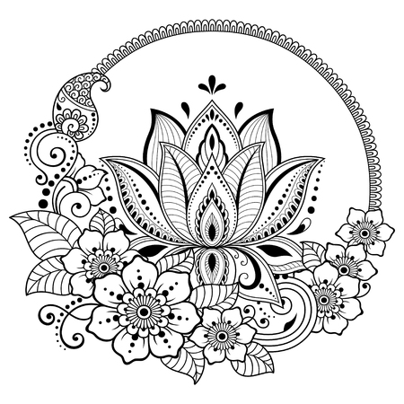 Mehndi lotus flower pattern for Henna drawing and tattoo. Decoration in ethnic oriental, Indian style. Stock fotó - 116811515
