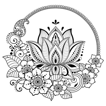 Motif de fleur de lotus Mehndi pour le dessin et le tatouage au henné. Décoration de style ethnique oriental, indien.