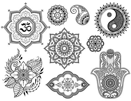 Big set of Mehndi flower pattern, lotus, mandala, mantra OM, Yin-yang symbol and Hamsa for Henna drawing and tattoo. Decoration in ethnic oriental, Indian style.
