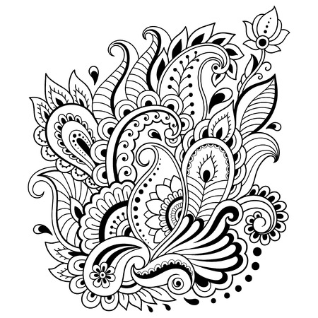 Mehndi flower pattern in frame for Henna drawing and tattoo. Decoration in ethnic oriental, Indian style. Vettoriali