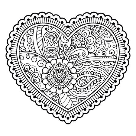 Mehndi flower pattern in form of heart for Henna drawing and tattoo. Decoration in ethnic oriental, Indian style. Coloring book page.